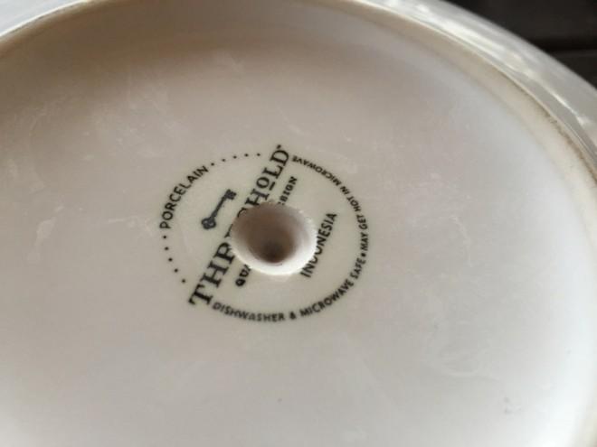 Drill through porcelain.