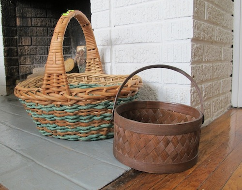 Choose old baskets at a second hand shop to makeover for Easter.