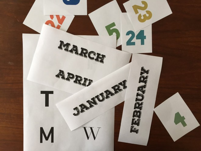 How to make an eternal calendar using the font of your choice on paper printouts.