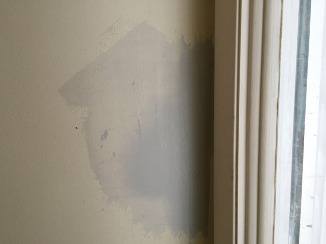 Repair water damaged paint with joint compound.