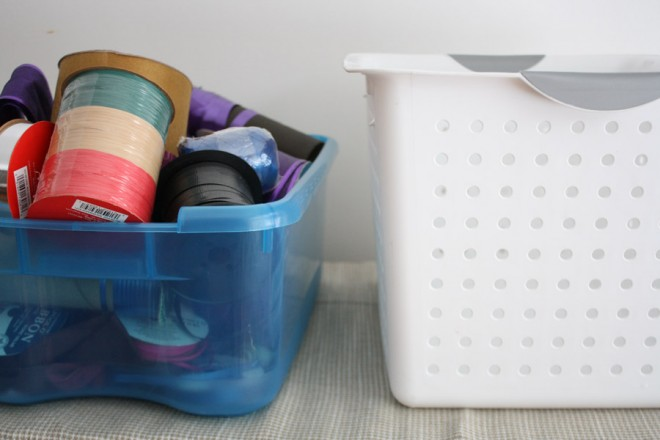 Use a Sterilite Bin to sort ribbons.
