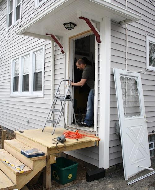 How to install an entryway storm door.