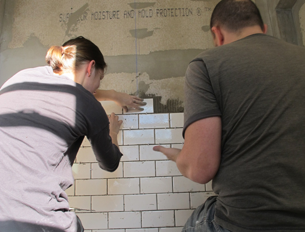 My husband Pete, an awesome DIYer and Maker. He helped me install a subway tile shower.