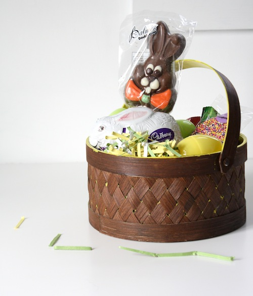 Make over an old basket with spray paint as a special Easter treat.