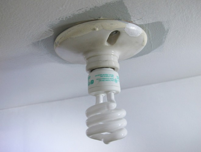 Updating a boring light in a closet with a vintage flush mount fixture.