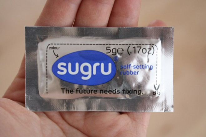 Sugru, in lovely blue color.
