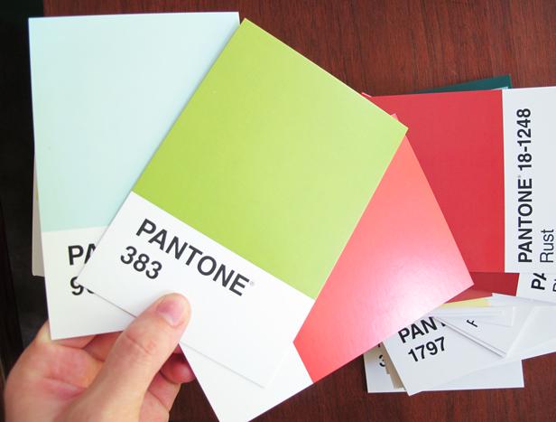 Pantone postcards used to make a home decor banner.