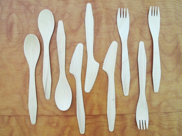 Use wooden flatware and customize it for your next party.