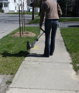 Clean grass from sidewalks as part of spring cleaning.