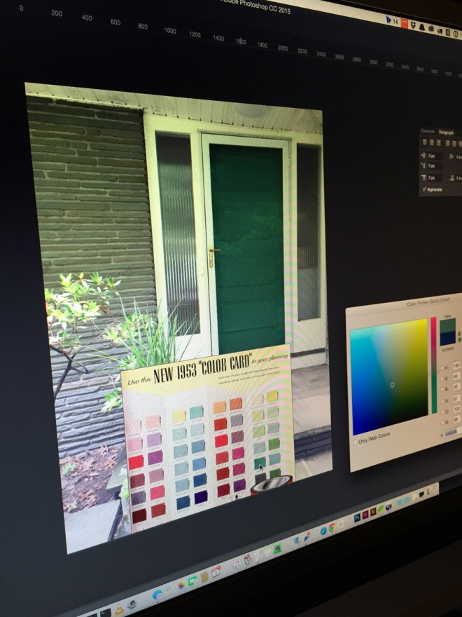 Using photoshop to plan front door colors.