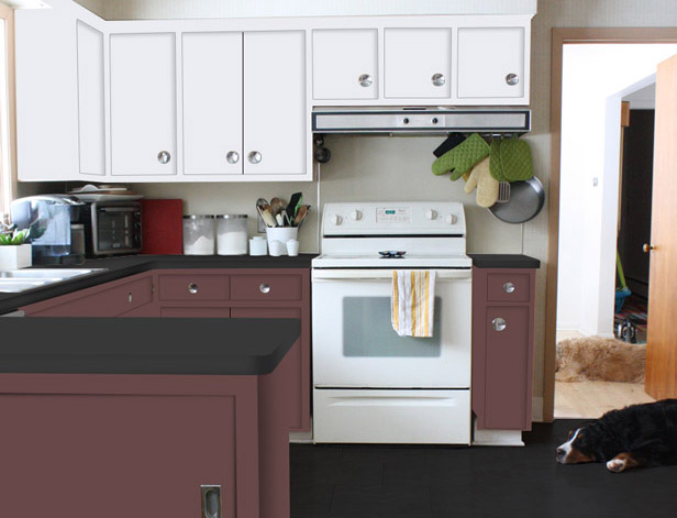 Dark rose colored cabinets, white on top.