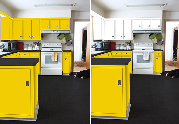 Yellow painted kitchen cabinets.