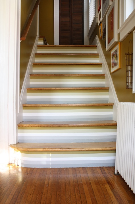Painting horizontal stripes on stairs, #stairporn