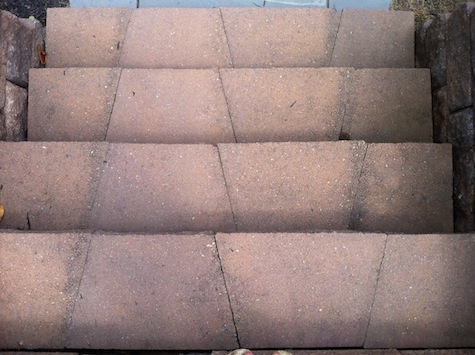 Love these interlocking paver stairs for a DIY patio space.