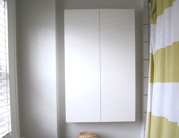 Extra storage in a shallow shelf above the toilet.