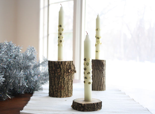 Make rustic candlesticks and candles accessorized with sparkly sequins.