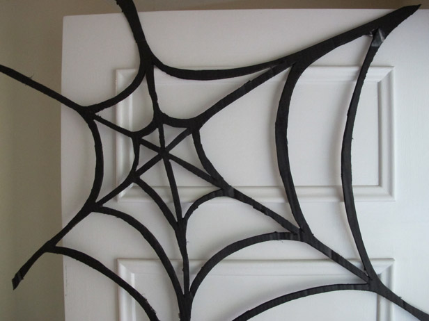 Halloween door spiderweb decoration.