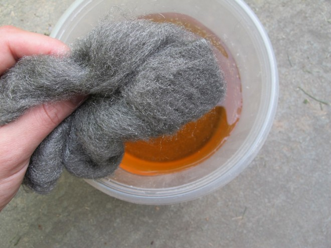 DIY stain using apple cider vinegar and steel wool.