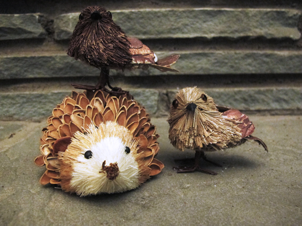 Winter animals for a rustic, modern mantel.