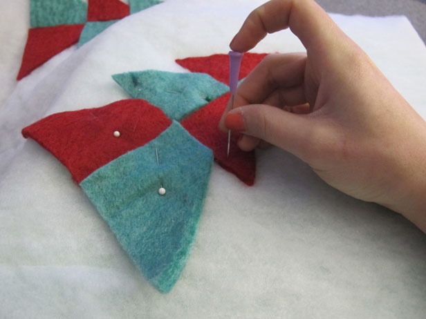 DIY tree skirt using felting craft technique.