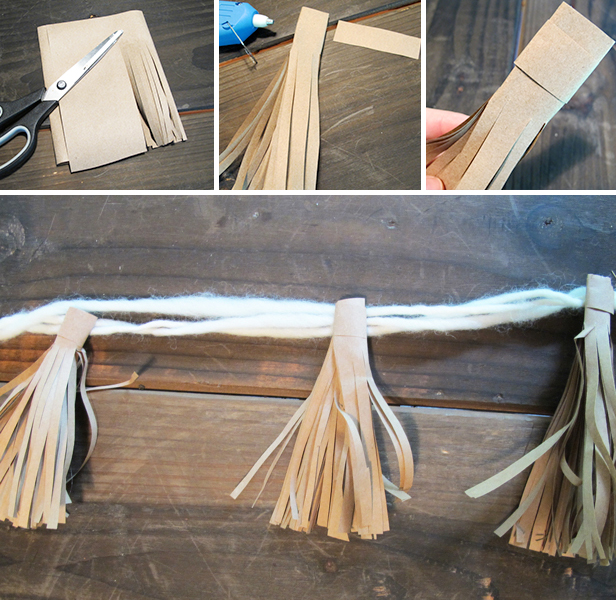 Use kraft paper to make tassel garland for a modern, easy holiday mantel.