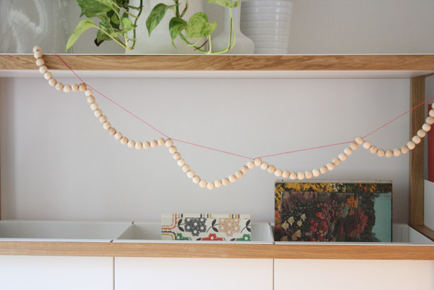 DIY scalloped wood bead garland.