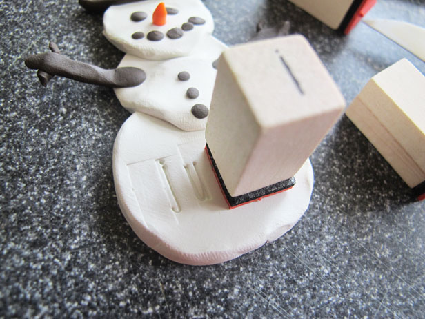 DIY holiday gift tag/ornament - a clay snowman.