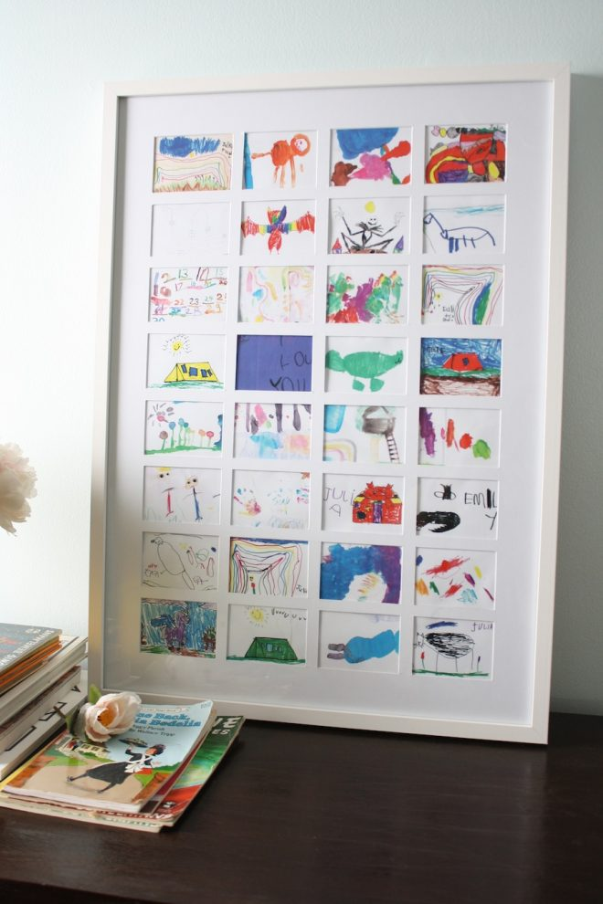 Make children's artwork into a single, framed collage.
