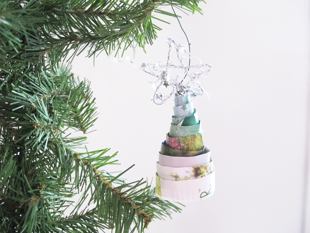 DIY tree ornament handmade using recycled paper.