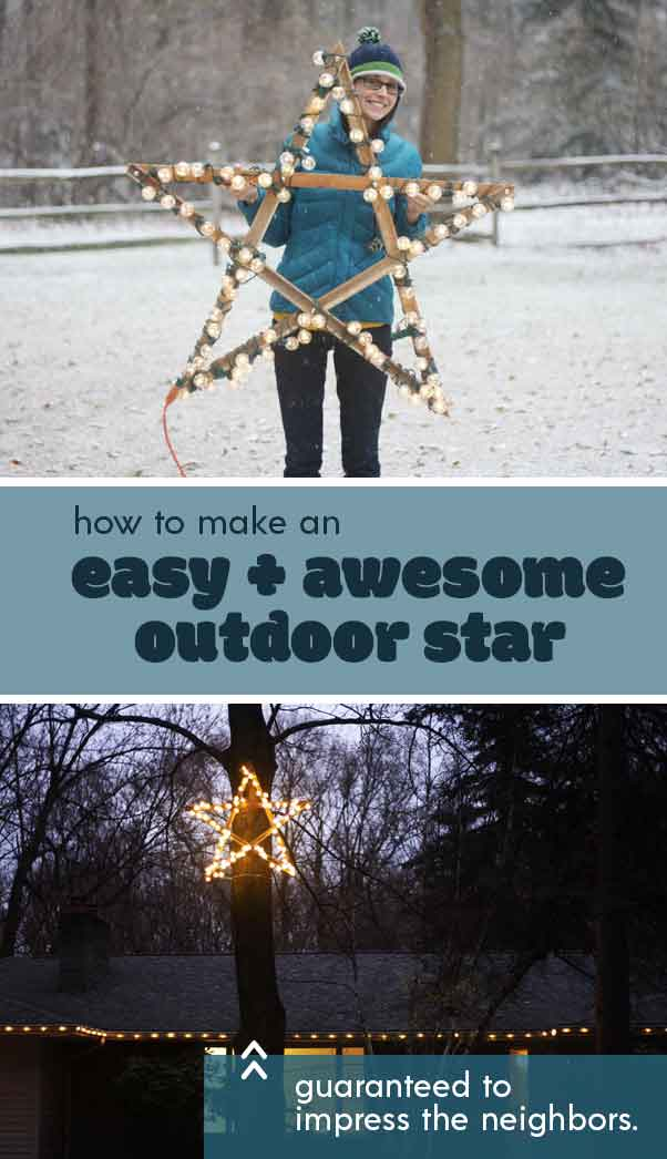 How to make a large outdoor star to hang in a tree. This project uses pieces of scrap trim, bolts, and string LED lights.