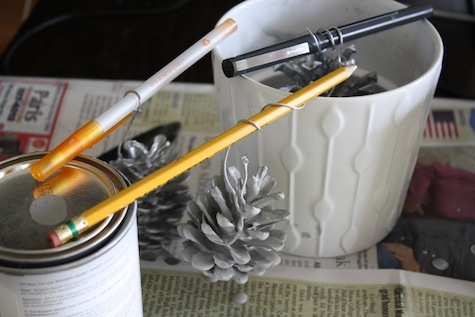 How to paint pinecones completely.
