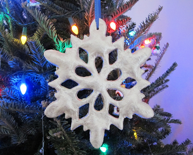 How to make a big salt dough snowflake ornament.