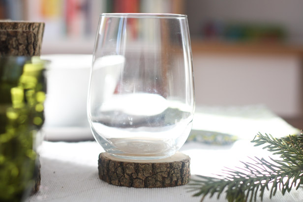 Wooden coasters for easy Thanksgiving table decor.