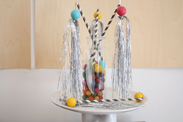 Use leftover tinsel and make a spirited New Years accessory for the kids.