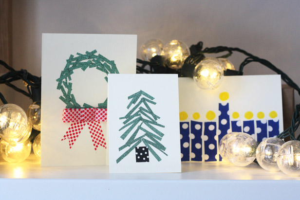 Washi tape holiday card crafts.