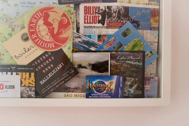 Create a shadowbox picture frame for travel keepsakes.