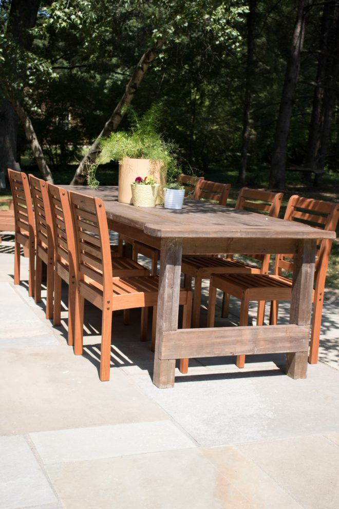 Eucalyptus stackable outdoor dining chairs from Lowe's for our flagstone patio.