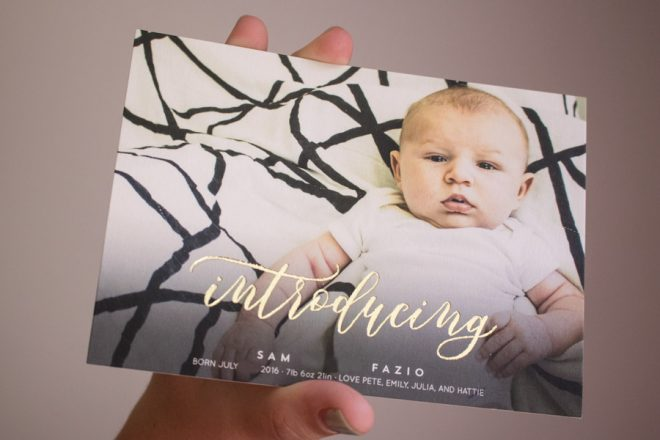 Sam's Birth Announcement from Minted.com