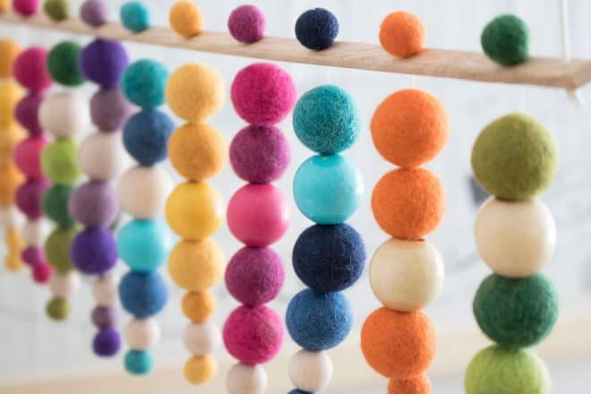 A colorful handmade beaded mobile for the baby's nursery.