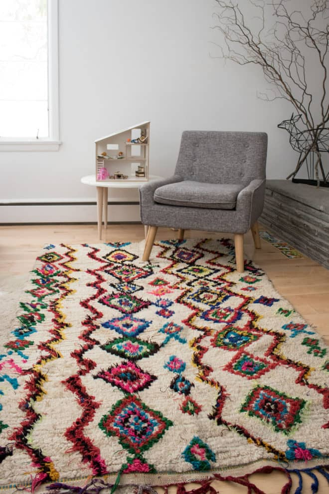 Our new-to-us vintage moroccan boucherouite rug from bazaarliving.com