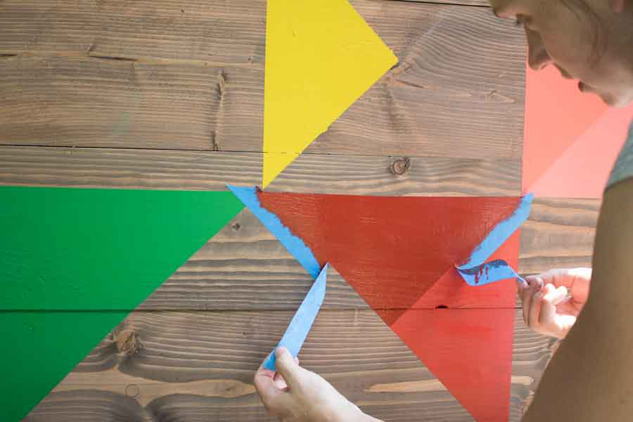 Painting a modern barn quilt.