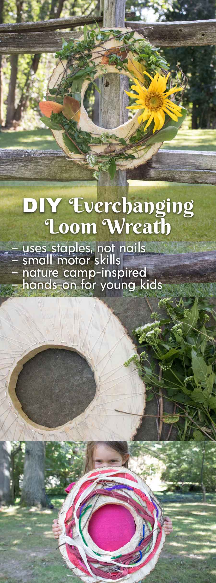 Make this loom wreath for your kids, and let them foster small motor skills while crafting in nature.