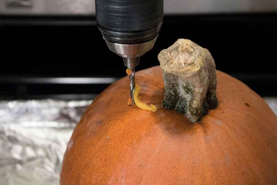 Make ventilation holes in the top of a pumpkin before baking.
