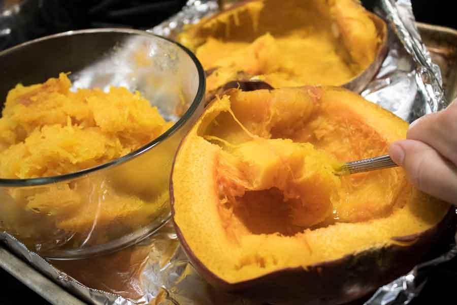 Scooping pumpkin for pumpkin butter.