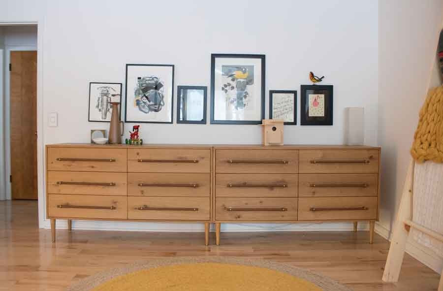 Benson West Elm Dressers in a modern, mid-century bedroom.