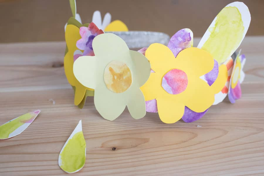 Watercolored and cut flowers to decorate an Easter or Passover or springtime-themed headband.