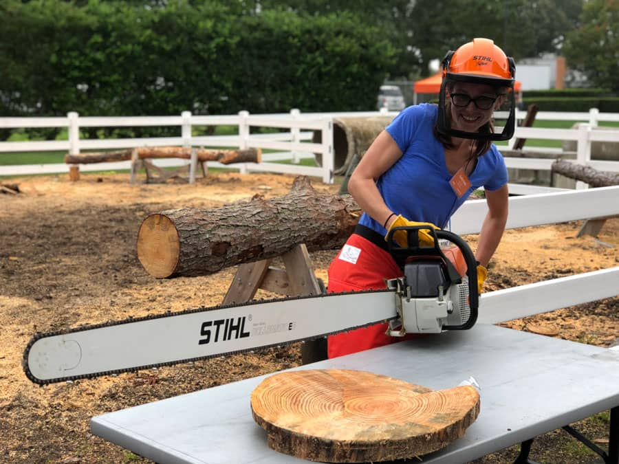 The biggest, most giant chainsaw I could find at STIHL. Super heavy but photo-worthy.