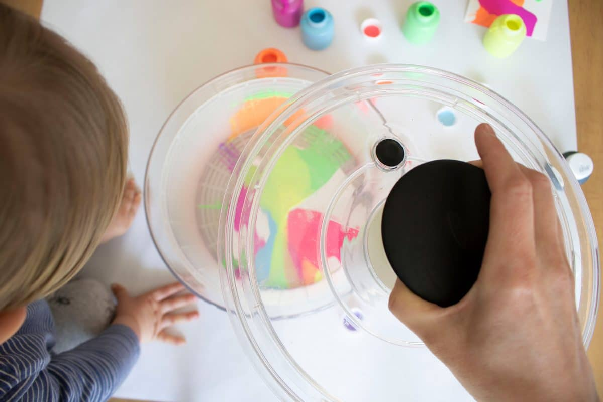Simple, washable spin art is fun for kids of all ages.
